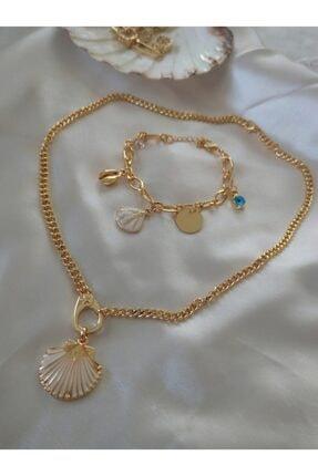Htc Deniz Kabuğu Bileklik Ve Kolye Set Kadın Gold