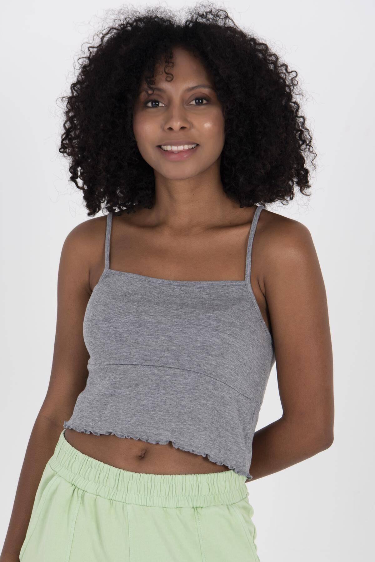 Addax Kadın Gri Melanj İp Askılı Bluz B0186 - W1 ADX-00008071