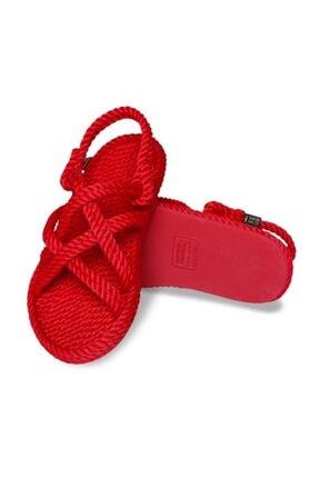NOMADIC REPUBLIC Bodrum Kauçuk Tabanlı Kadın Halat Sandalet Kırmızı