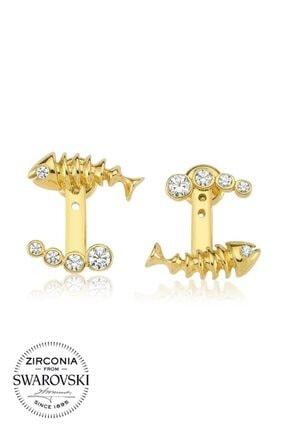 Valori Jewels Işıltılı Balık, Swarovski Zirkon Beyaz Taşlı, Altın Rengi Gümüş Küpe