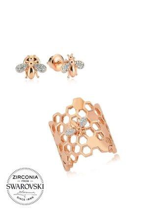 Valori Jewels Arı Konsept, Swarovski Zirkon Beyaz Taşlı, Rose Gümüş Set