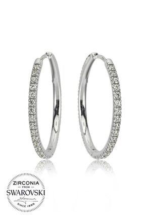 Valori Jewels Large, Swarovski Zirkon Beyaz Taşlı, Gümüş Halka Küpe