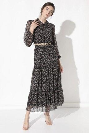Arma Life Kadın Siyah Çitir Çiçek Uzun Şifon Elbise 530-0Yb0787Elb