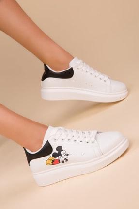 SOHO Beyaz-Siyah-Siyah Kadın Sneaker 13852