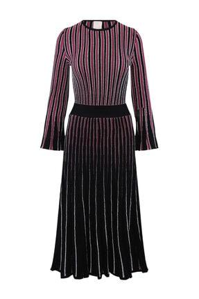 W Collection Kadın Siyah Uzun Kollu Triko Elbise
