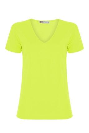 GTNight Kadın Sarı V Yaka T-Shirt