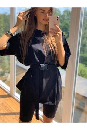 Boutiquen Kadın Siyah Salaş T-shirt Kısa Tayt Kemer 2234