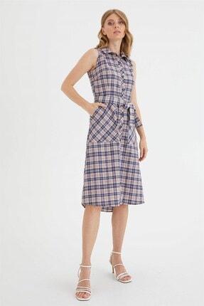 Chima Kadın Pembe Düğmeli Ekose Elbise