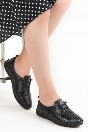 Ayakland Kadın Siyah Deri Full Comfort Ortopedik Ayakkabı