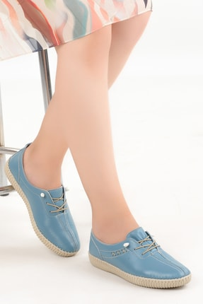 Ayakland Kadın Mavi Hakiki Deri Full Comfort Ortopedik  Frd 5041
