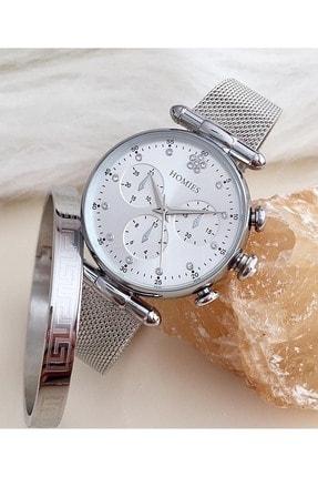Homies Marka Bayan Kol Saati Çelik Bileklik Hediyeli Hms-30230