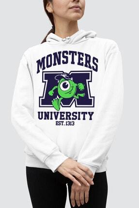 Rock & Roll34 M Üniversitesi Beyaz Kapşonlu Kadın Sweatshirt