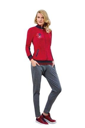 Berrak Kadın Kırmızı Fermuarlı Cepli Desenli Pijama Takımı 366