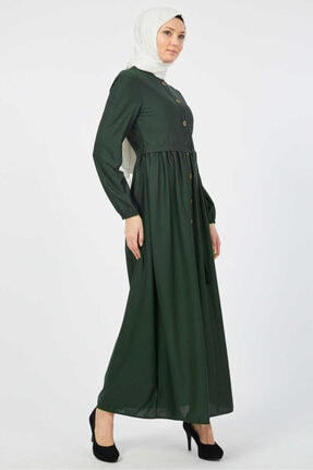 Kadın Kuşaklı Tesettür Elbise 7878 Es001 Zümrüt Yeşili T133