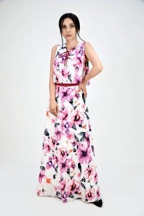 Lila Rose Kadın Fuşya Çiçek Desen Şifon Kumaş Maxi Elbise