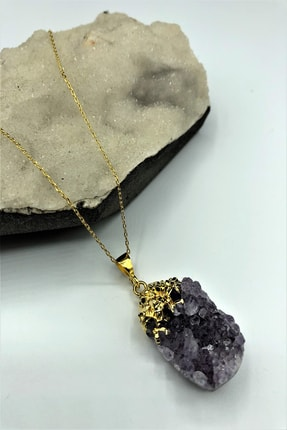 DR Stone Luxury Uruguay Ametisti Taşı El Yapımı 22k Altın Kaplama 925 Ayar Gümüş Kadın Kolye Krb255