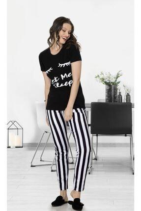 Jiber Kadın Siyah Desenli  Pijama Takımı