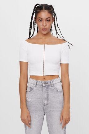 Bershka Kadın Kirli Beyaz Kayak Yaka T-shirt