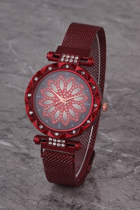 Polo55 Plkhm015r05 Kadın Saat Kırmızı Taşlı Çiçekli Şık Kadran Mıknatıslı Hasır Kordon