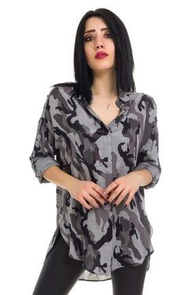 Ayhan Kamuflaj Desenli Omuzları Şeritli Bayan Gömlek - 50424 Gri