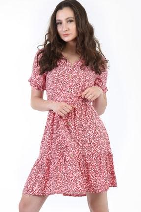 YOYOSO Kadın Kırmızı Çiçek Desenli Önden Düğmeli Elbise