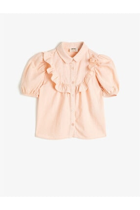 Koton Kız Çocuk Pembe Gömlek Yaka Kısa Kollu Düğme Detaylı Bluz