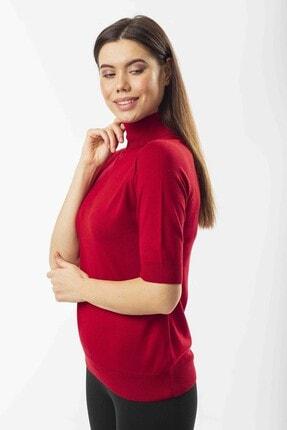 Stamina Kadın  Balıkcı Yaka Kazak-Kırmızı 2fm2605