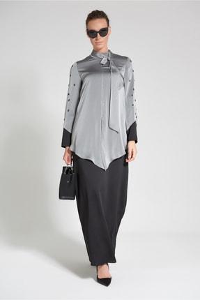 Olcay Kadın Gri Siyah Şifon Ve Taş İşlemeli Elbise