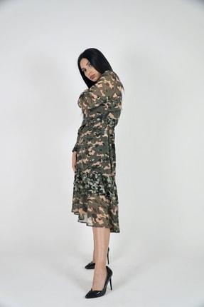 Lila Rose Kadın Haki Kamuflaj Kruvaze Yaka Midi Boy Şifon Elbise