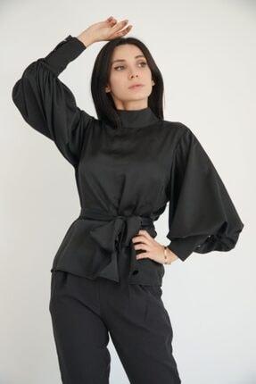 Lila Rose Kadın Siyah Balon Kol Bağcıklı Saten Bluz 21klrbu6031