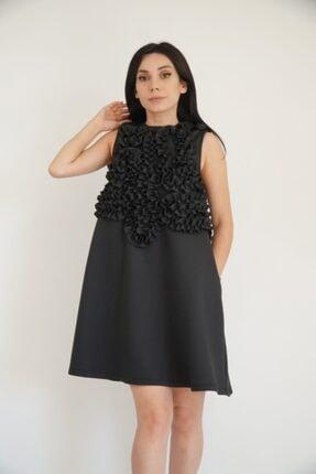 Lila Rose Kadın Siyah Nakışlı Scuba Elbise 21klrel3089