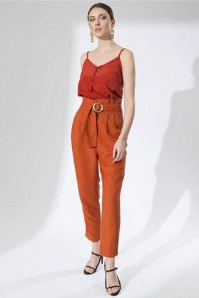 Arma Life Kadın Turuncu Pileli Yüksek Bel Pantolon