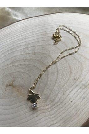 Accessories Gold Yaprak Taşlı Kolye