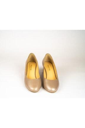 POLETTO Kadın Pudra Vizon Topuk Detaylı Kalın Topuk Ayakkabı