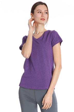 Sportive Kadın Mor Günlük V Yaka Tişört 610003-gul