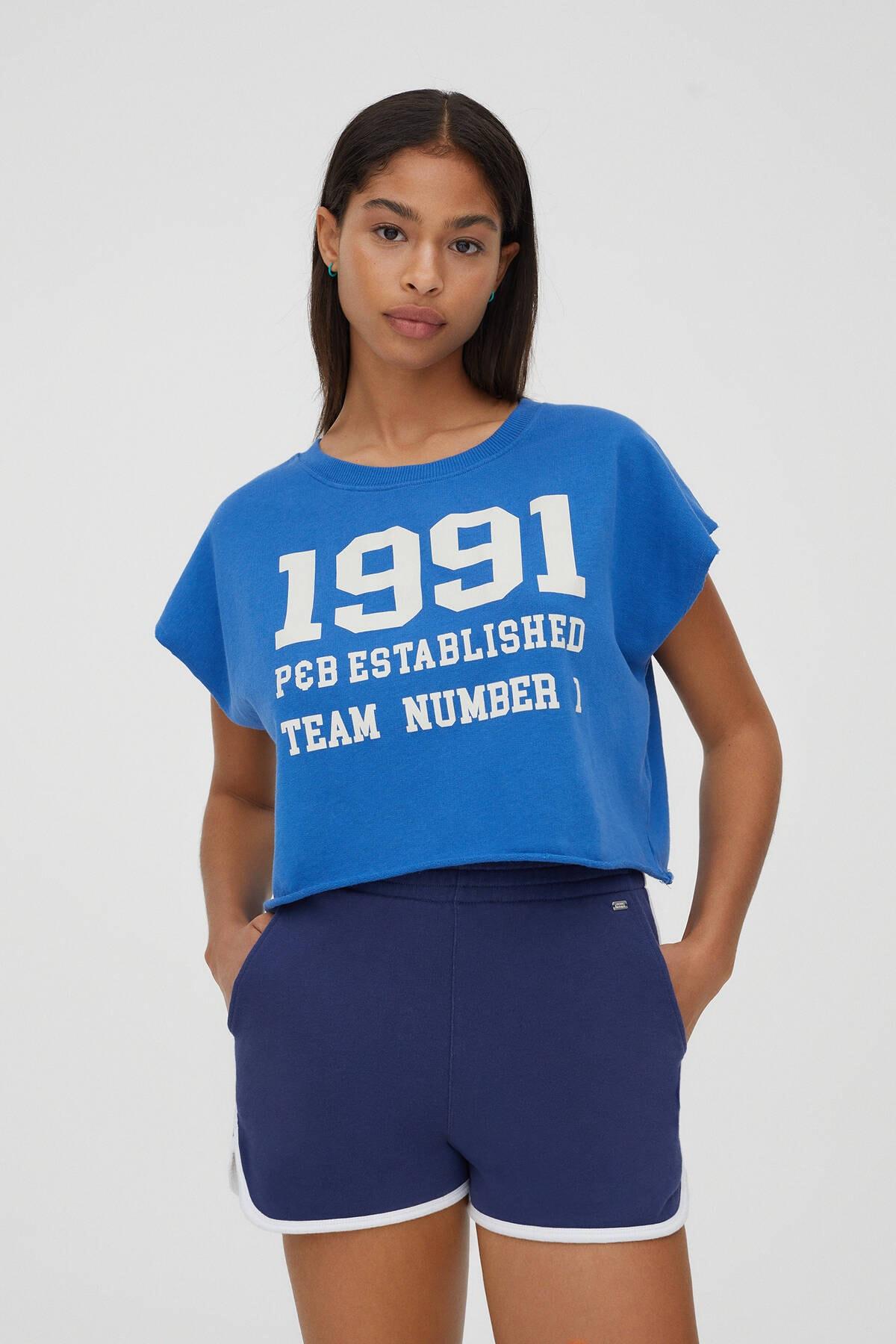Pull & Bear Kadın Mürekkep Mavisi Yazılı Kolej Sweatshirt 04592301