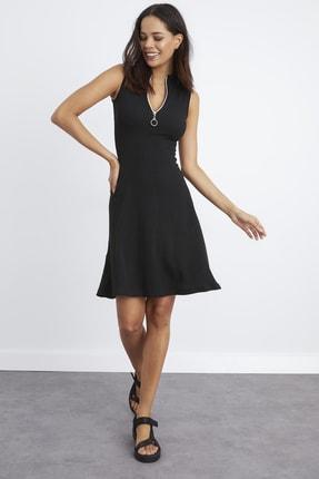 Cool & Sexy Kadın Siyah Yaka Fermuarlı Kaşkorse Elbise Yİ2169