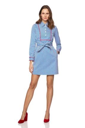 Benetton Kadın Çizgili Gömlek Yaka Elbise 312014SB95VB53-901