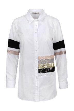 Seçil Ekru Payet Ve Şerit Detaylı Gömlek