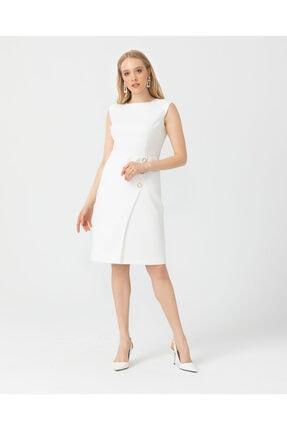 Seçil Düğme Detaylı Diz Boyu Elbise