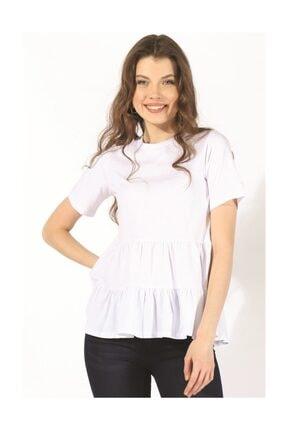 Twister Jeans Kadın Bisiklet Yaka Tshırt Bts Büzgülü Tshirt 3002 Beyaz