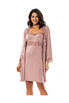 ERDEM Sabahlıklı Pijama Takım House Coat  - Pudra (8591)