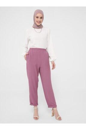 Refka Kadın Mor Beli Lastikli Pantolon