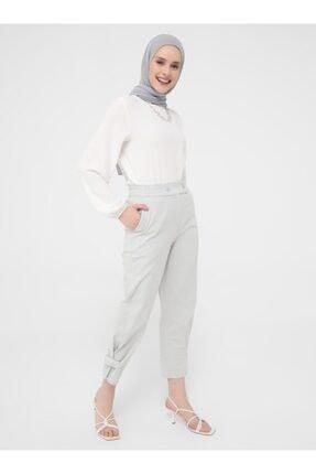 Refka Açık Gri Beli Lastikli Paçası Çıtçıt Detaylı Rahat Pantolon