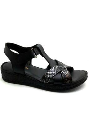 Punto -390112-siyah Leopar Kadın Düz Taban Sandalet