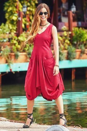 Los Banditos Kadın Kırmızı Bohem Tarz V Yaka Cepli Balon Etekli Elbise
