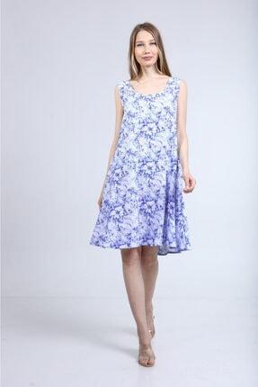 Home Store Elbise Açik Yaka Kolsuz Çiçek Desenli Mavi