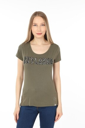 Home Store Tshirt*round*payetli Key Largo Baskılı Kısa Kollu Kakı