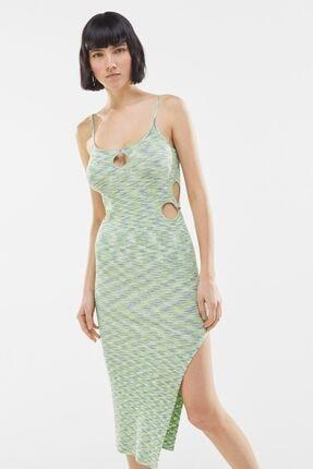 Bershka Yanı Pencere Detaylı Renkli Kırçıllı Desenli Elbise