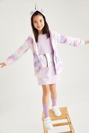DeFacto Kız Çocuk Gökkuşağı Renkli Unicorn Boynuzlu Ince Yağmurluk